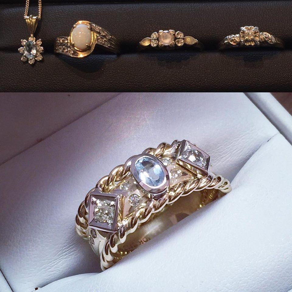 Such a unique ring was created using different pieces acquired through out the years.
