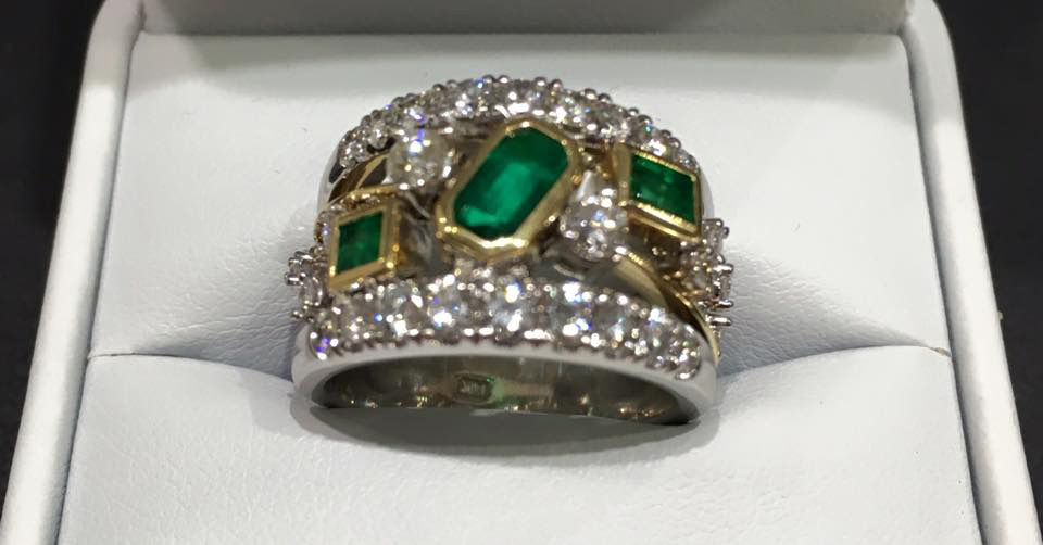 Look at this gorgeous custom ring that our customer Shirley picked up today. It is just one example of the stunning pieces we can create. Come in and see us today.