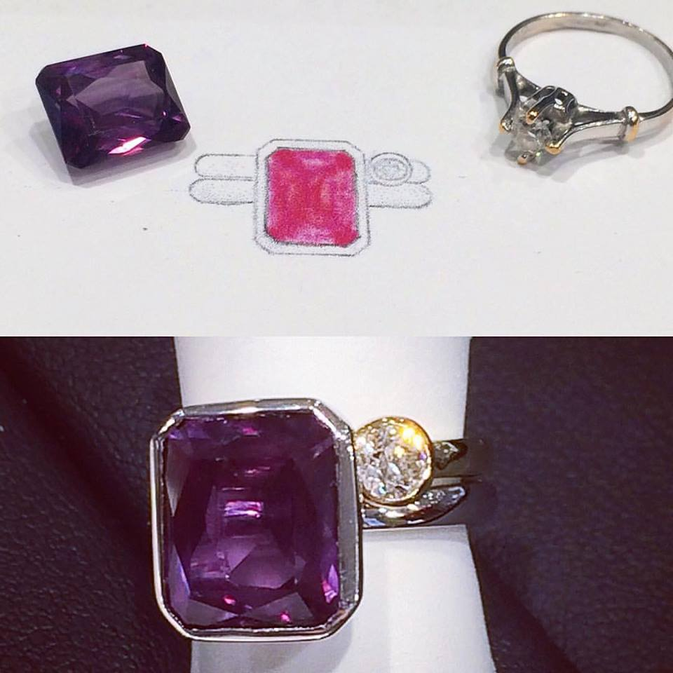 Although a very simple design we loved making this setting to compliment this amazing alexandrite!